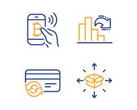 Bitcoin pay, Decreasing graph and Change card icons set. Parcel delivery sign. Vector. Bitcoin pay, Decreasing graph and Change card icons simple set. Parcel royalty free illustration