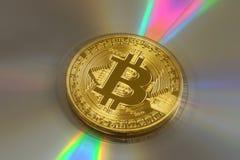 Bitcoin phisical del oro de la moneda Crypto fotos de archivo libres de regalías