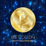 Bitcoin. Physical bit coin. Digital currency. royalty free illustration