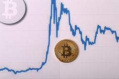 Bitcoin. Physical bit coin. Digital currency. Cryptocurrency Royalty Free Stock Image
