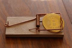 Bitcoin is a mousetrap. Bitcoin. Physical bit coin. Digital currency. Cryptocurrency Stock Photography