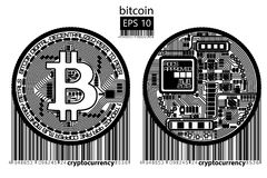 Bitcoin. Physical bit coin. Vector illustration. Bitcoin. Physical bit coin. Digital currency. Cryptocurrency. Double sided coin with bitcoin symbol isolated on Royalty Free Stock Photos