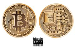 Bitcoin. Physical bit coin. Vector illustration. Bitcoin. Physical bit coin. Digital currency. Cryptocurrency. Double sided coin with bitcoin symbol isolated on Stock Photo
