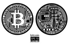 Bitcoin. Physical bit coin. Vector illustration. Bitcoin. Physical bit coin. Digital currency. Cryptocurrency. Double sided coin with bitcoin symbol isolated on Stock Image