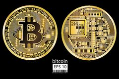 Bitcoin. Physical bit coin. Vector illustration. Bitcoin. Physical bit coin. Digital currency. Cryptocurrency. Double sided coin with bitcoin symbol isolated on Royalty Free Stock Image