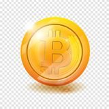 Bitcoin. Physical bit coin. Digital currency. Cryptocurrency. Golden coin with bitcoin symbol  on transparent. Background. vector illustration EPS 10 Royalty Free Stock Images