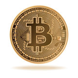 Bitcoin. Physical bit coin. Digital currency. Cryptocurrency. Golden coin with  symbol isolated on white background. Stock vector illustration stock illustration