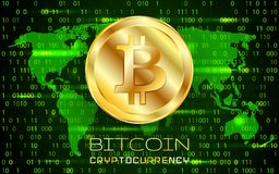 Bitcoin. Physical bit coin. Digital currency. Cryptocurrency. Golden coin with bitcoin symbol.  Royalty Free Stock Image
