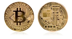 Bitcoin. Physical bit coin. Digital currency. Cryptocurrency. Golden coin   with bitcoin symbol isolated on white background. Bitcoin. Physical bit coin. Digital Royalty Free Stock Image