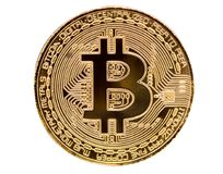 Bitcoin. Physical bit coin. Digital currency. Cryptocurrency. Golden coin   with bitcoin symbol isolated on white background. Bitcoin. Physical bit coin. Digital Stock Photos