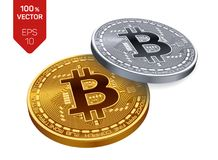 Bitcoin pièce de monnaie physique isométrique du peu 3D Pièces d'or et en argent avec le symbole de bitcoin d'isolement sur le fo Images libres de droits