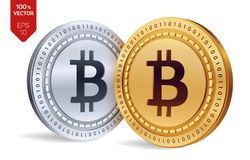 Bitcoin pièces de monnaie 3D physiques isométriques Devise de Digital Cryptocurrency Pièces d'or et en argent avec le symbole de  Photo libre de droits