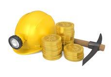 Bitcoin, piccone e minatore Helmet Isolated Fotografia Stock