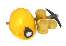Bitcoin, piccone e minatore Helmet Isolated Fotografie Stock Libere da Diritti