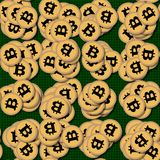 Bitcoin, pile of cryptocurrencies Stock Image