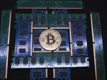 Bitcoin and pile of ram memory Royalty Free Stock Photography