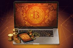 Bitcoin piles laying on laptop with Bitcoin logo on-screen and blockchain nodes all around Stock Photo