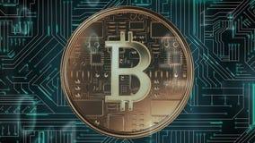 Bitcoin, placa de circuito, y códigos binarios libre illustration