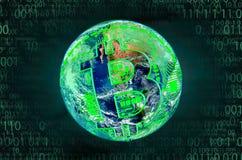 Bitcoin, pojęcie interneta przychody na całym świecie Zdjęcie Stock