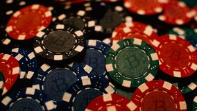 Bitcoin poker chips stock photo