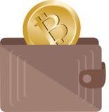 Bitcoin in portefeuille stock afbeeldingen