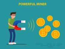 Bitcoin potente de la explotación minera del minero Foto de archivo