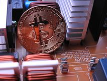 Bitcoin and power board Royalty Free Stock Image