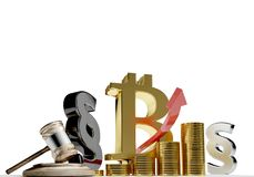 Bitcoin prawa akapit 3d-illustration royalty ilustracja