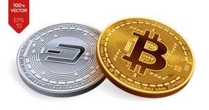 Bitcoin precipitare monete fisiche isometriche 3D Valuta di Digital Cryptocurrency Moneta d'argento con il simbolo del un poco e  Immagini Stock Libere da Diritti