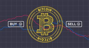 Bitcoin price drops down infographics - bitcoin cryptocurrency background. Bitcoin price drops down infographics - bitcoin cryptocurrency price fall chart royalty free illustration