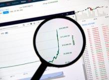 Bitcoin price reaching 20000 dollars Stock Photos