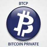 Bitcoin Private Coin cryptocurrency blockchain icon. Virtual electronic, internet money or cryptocoin symbol, logo royalty free illustration