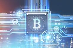 Bitcoin procesor, błękitnej czerwieni tło, hud miasto ilustracji