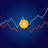 Bitcoin and profit growth graphs on a digital background. Bitcoin and profit growth graphs on a digital background . Vector illustration Stock Image