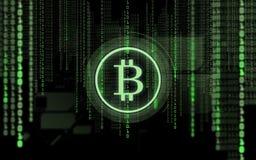 Bitcoin projekcja i binarny kod nad czernią Zdjęcie Royalty Free