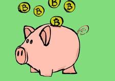 Bitcoin prosiątka bank Obrazy Stock