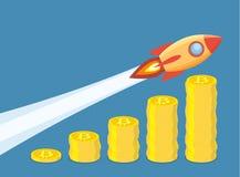 Bitcoin przyrosta pojęcie ilustracja wektor