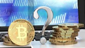 Bitcoin przyszłość, znak zapytania, bitcoin na laptopie i wykresy w tle, ilustracji