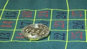 Bitcoin que apuesta en ruleta del casino almacen de video