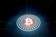 Bitcoin que brilla intensamente digital futurista con el fondo binario abstracto de la onda del texto del código del zero-one stock de ilustración