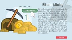 Bitcoin que mina la bandera conceptual Fotos de archivo