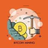 Bitcoin que mina la línea fina vector del concepto Imágenes de archivo libres de regalías