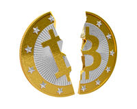 Bitcoin quebrado Foto de archivo