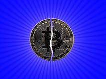 Bitcoin quebrado com estrela ilustração stock