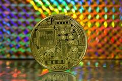 Bitcoin-Rückseite auf farbigem Hintergrund Stockfotos