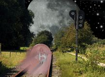 Bitcoin railroad to the moon Stock Photography