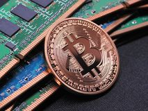 Bitcoin and ram memory Royalty Free Stock Image