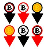 Bitcoin rate falling color icon. Cryptocurrency with down arrow. Bit coin collapse Falls Down symbol. Vector Illustration. Bitcoin rate falling color icon Stock Photography