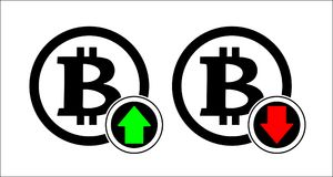 Bitcoin rate and falling icon with down arrow. Exchange indicating growth and a drop in prices and profits. Concept of purchase of stock illustration