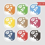 Bitcoin-Raumschiff, farbiges Logo, Vektor lizenzfreie abbildung
